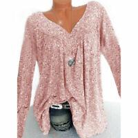 Ladies Long Sleeve Baggy Tunic Blouse Size Womens Loose Boho Plus Tops T-Shirt