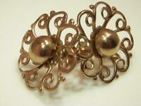 Very Mellow Gold Tone Vintage 60's Large Pretty Flower Screw Back Earrings 540o9