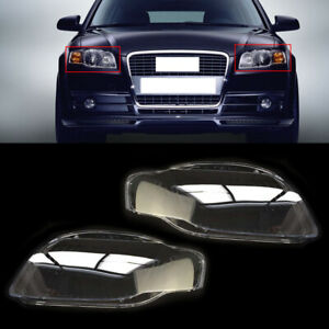 2-L&R Front Clear Headlight Headlamp Lens Cover Glass fit for Audi A4 B7 2005-08