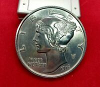 Large 3 Inch Novelty Coin/Coaster/Paperweight 1916 D Mercury Dime Coin Design