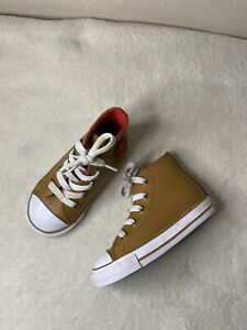 Toddler Converse Tan Leather Red Hi Top Size 7