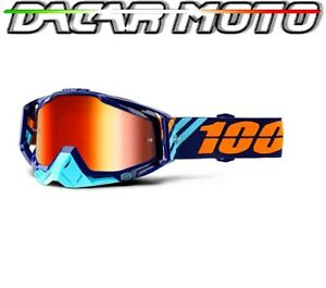 MASCHERINA OCCHIALI 100% RACECRAFT OFF ROAD MOTO CROSS LENTI SPECCHIO+NEUTRAL