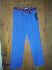 NEW Tommy Hilfiger Dressy Youth Boys Chino Pants Sz 16-20 Royal Blue w Belt