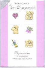For Both Of You On Your Engagement  Card. Teddies, Flowers & Champagne.