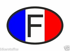 F FRANCE COUNTRY CODE OVAL WITH FRENCH FLAG BUMPER STICKER