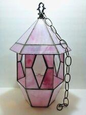 "Beautiful 16"" STAINED GLASS Pagoda Style BIRD FEEDER Pink Hexagon GAZEBO Chain"