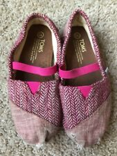 Tiny Toms Girls Shoes Toddler Sz 10 Pink Sparkle Tweed Flats Elastic Strap GUC!