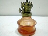 Old Vintage Amber Glass Kerosene  Oil Lamp w Chimney Miniature Size