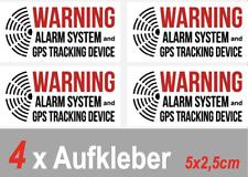 4 x ALARMGESICHERT Aufkleber für PKW KFZ Warnaufkleber GPS Tracker Alarmanlage