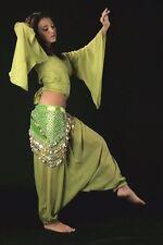 Sarouel Marocain de danse orientale mousseline olive taille unique 36/40