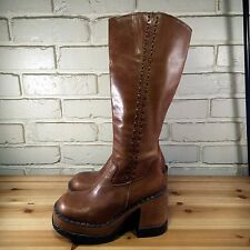 LONDON UNDERGROUND VINTAGE Women's Shoes ~ Brown Leather Knee High Boots ~ 5 M