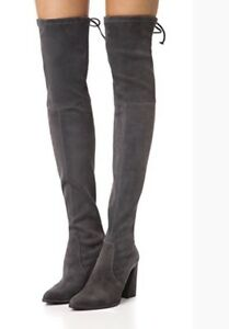 Stuart Weitzman Funland Over the Knee Suede Slate Anthracite Gray Highland 9.5