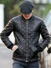 David Beckham Fashionable Black Men's Biker Real Leather jackets - All sizes DB2
