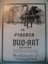 PUBLICITE DE PRESSE AEOLIAN PIANOLA DUO-ART ELECTRIQUE AD 1924