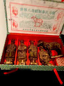 Set of Chinese Soldier Terracotta army warrior clay figures + horse Boxed
