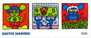 Keith Haring Andy Mouse (Warhol) keith haring Foundation Poster 14 x 33