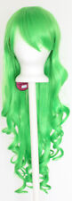 29'' Long Curly w/ Long Bangs Lime Green Cosplay Wig NEW