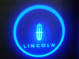 2PC BLUE LINCOLN 5W LED EMBLEM DOOR PROJECTOR GHOST SHADOW PUDDLE LOGO LIGHT