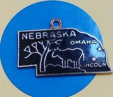B126 Nebraska State Map Sterling Silver Vintage Bracelet Charm