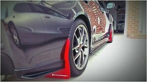 RALLY ARMOR UR RED MUD FLAP W/ WHITE LOGO FOR 2015+ SUBARU WRX STi SEDAN