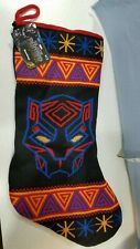 Marvel Black Panther Christmas Stocking NWT 17 Inch Knit Black Multi-Color