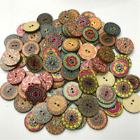 100pcs Wooden 2 Holes Round Wood Sewing Buttons DIY Craft Scrapbooking UK