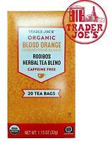 Trader Joe's Organic Blood Orange Rooibos Herbal Tea Blend 20 Bags Caffeine Free