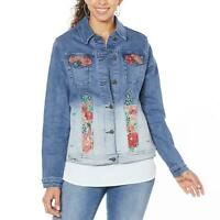 nWT DG2 by Diane Gilman Womens Embroidered Signature Denim Jacket. 697431-Plus