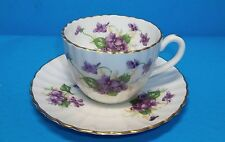 BEAUTIFUL VIOLETS TEACUP AND SAUCER SET FROM RADFORDS BONE CHINA OF ENGLAND