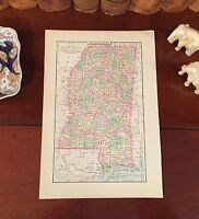 Original 1894 Antique Map MISSISSIPPI Jackson Gulfport Biloxi Vicksburg Tupelo