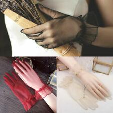 Hot  Lotus Leaf Sheer Short Tulle Gloves Lace Full Finger Transparent Mittens