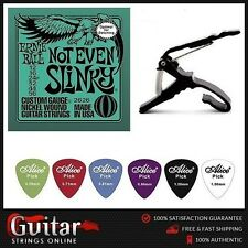 Ernie Ball 2626 Slinky Strings 12-56 + Quick Change Capo + 6 Alice Picks Mixed