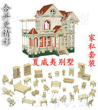 3D wooden puzzle dollhouse doll wood House Hawaii villa with furnitures kit