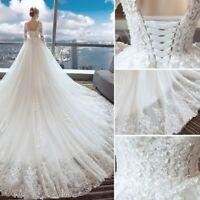 Vintage Sheer Long Sleeves Cathedral Train Lace Tulle Wedding Dress Bridal Gown
