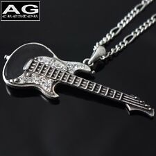 """Black electric guitar antique silver pendant with 26"""" chain necklace US SELLER"""