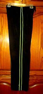"PUMA YTH BOYS SZ L X 29"" (12-13 YRS) BLK/NEON GREEN TRACK PANTS W ELASTIC WAIST"