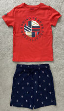 Boys' Mayoral Red & Navy 2 Piece Patterned Short Set Size 5 Years