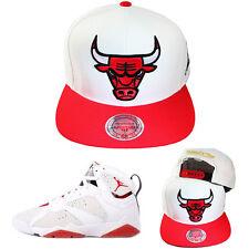 Mitchell & Ness NBA Chicago Bulls White Red Snapback Hat Matches Jordan Retro 7
