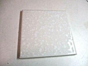 "Florida USA FT 4-3/8"" Ceramic Gloss Dimpled White Pearl on Beige 1 Wall Tile Vtg"