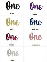"""Number ONE Birthday Glitter Cake Topper 5.5"""" Wide by 3.5"""" Tall Choose Color"""