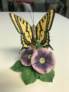 """SUPERB 4 3/4"""" Lenox SWALLOWTAIL BUTTERFLY on FLOWERS FIGURINE in MINT CONDITION"""