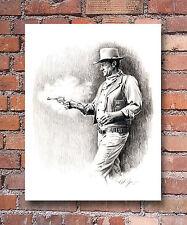 "John Wayne Pencil Portrait ""Comancheros"" 11 x 14 Art Print Signed by Artist DJR"