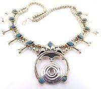 .Vintage Native Indian Navajo Sterling Silver Squash Blossom & Sodalite Necklace