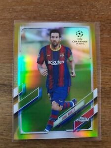 2020-21 Topps Chrome UEFA Champions League Lionel Messi Gold Refractor #7/50 SP