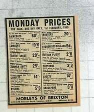 1959 Morley's Of Brixton, Monday Prices