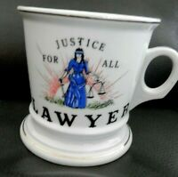 Vintage LAWYER Justice For All 12 oz. Shaving Mug Cup, White, Gold Trim, EUC