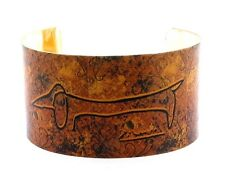 """1.5"""" Wide Picasso Dog Art Cuff Metal Bangle, Rusty Gold Background, 7-8"""""""