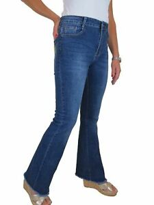 Paulo Due Womens High Rise Bootcut Jeans Stretch Denim Flared Pants Blue 10-20