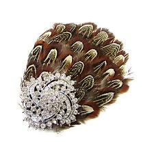 Braun Silber Fasan-feder Strassstein Fascinator Haarspange Kopfbedeckung Vtg 78