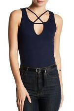Socialite Super Cute Blue Ribbed Bodysuit with Snap Closure Size L